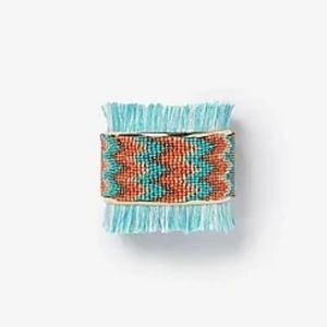 *NWT* Chevron Seed Bead Fringe Cuff Bracelet